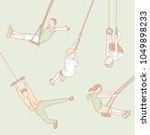 people who ride a hanging... | Shutterstock .eps vector #1049898233