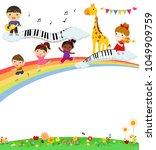 happy children and rainbow | Shutterstock .eps vector #1049909759