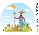 farmer cartoon character with... | Shutterstock .eps vector #1049921084