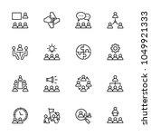 thin line icons set of teamwork ... | Shutterstock .eps vector #1049921333