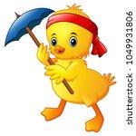 cute cartoon duck with blue... | Shutterstock .eps vector #1049931806