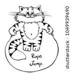 extra happy rope jumping cat.... | Shutterstock .eps vector #1049939690