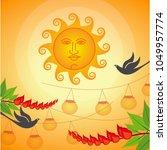 erythrina variegata flowers and ... | Shutterstock .eps vector #1049957774