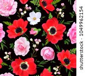 seamless floral pattern with... | Shutterstock .eps vector #1049962154