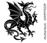 winged heraldic dragon ... | Shutterstock .eps vector #1049970239