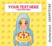 young muslim woman wearing...   Shutterstock .eps vector #1049975789