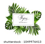 tropical flowers and leaves on... | Shutterstock .eps vector #1049976413