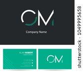 o   m joint logo stroke letter... | Shutterstock .eps vector #1049995658