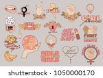 set of elements girl power and... | Shutterstock .eps vector #1050000170