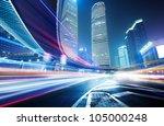 the light trails on the modern... | Shutterstock . vector #105000248
