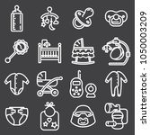 baby icon set in thin line... | Shutterstock .eps vector #1050003209
