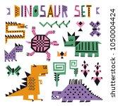 funny cartoon dino collection.... | Shutterstock .eps vector #1050004424