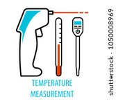 thermometer set in linear style ... | Shutterstock .eps vector #1050008969
