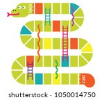 snakes and ladders game board.... | Shutterstock .eps vector #1050014750
