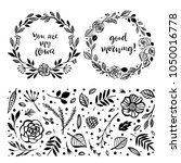 floral wreaths with... | Shutterstock .eps vector #1050016778