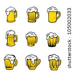 set of beer glasses with fresh... | Shutterstock .eps vector #105002033