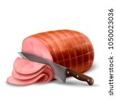 smoked ham isolated  delicious...   Shutterstock .eps vector #1050023036