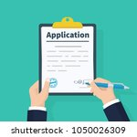 application form. man with... | Shutterstock .eps vector #1050026309