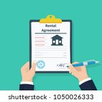 man hold rental agreement form... | Shutterstock .eps vector #1050026333
