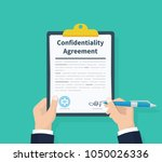 confidentiality agreement. man... | Shutterstock .eps vector #1050026336