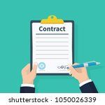 man hold contract signing.... | Shutterstock .eps vector #1050026339