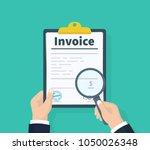 man hold invoice in hand. order ... | Shutterstock .eps vector #1050026348