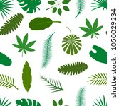 tropical palm leaves green... | Shutterstock .eps vector #1050029234