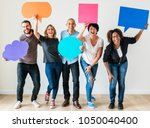 people carryng speech bubble... | Shutterstock . vector #1050040400