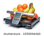 scale with fresh fruits... | Shutterstock . vector #1050046460