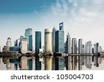 modern city shanghai skyline in ... | Shutterstock . vector #105004703