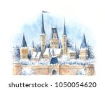 watercolor winter medieval... | Shutterstock . vector #1050054620