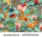 seamless tropical leaves and... | Shutterstock . vector #1050054656