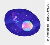 astronaut floating in open... | Shutterstock .eps vector #1050059603
