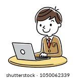 male student  internet ... | Shutterstock .eps vector #1050062339