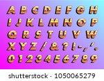 retro 80's type  metallic yellow | Shutterstock .eps vector #1050065279