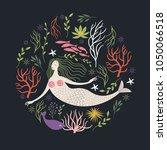 mermaid among marine life | Shutterstock .eps vector #1050066518