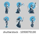the goddess of justice themis.... | Shutterstock .eps vector #1050070130
