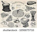 mediterranean menu  flour ... | Shutterstock .eps vector #1050075710