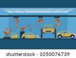 car manufacturing process with... | Shutterstock .eps vector #1050076739