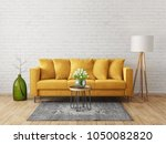 modern living room  with yellow ...   Shutterstock . vector #1050082820