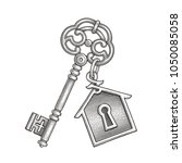vintage key with keychain. hand ...   Shutterstock .eps vector #1050085058