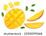 half of mango fruit decorated... | Shutterstock . vector #1050099068