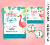 flamingo birthday invitation ... | Shutterstock .eps vector #1050104639