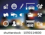 vector white car wash icon set  | Shutterstock .eps vector #1050114830