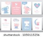 set of baby shower invitations... | Shutterstock .eps vector #1050115256