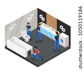 isometric bathroom renovation... | Shutterstock .eps vector #1050119186