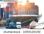 close up containers cargo ship... | Shutterstock . vector #1050120140