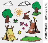 summer camp vector objects for... | Shutterstock .eps vector #1050127478