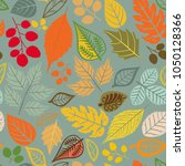 seamless pattern with leaf.... | Shutterstock .eps vector #1050128366