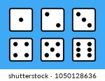 set of 6 dices on blue... | Shutterstock .eps vector #1050128636